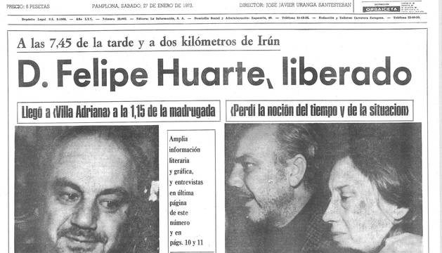Portada de Diario de Navarra tras la liberación de Felipe Huarte.