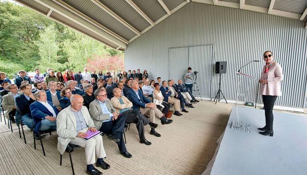 La presidenta Barkos, durante su intervención en el Campus Internacional Ultzama.