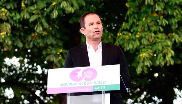 Benoit Hamon, durante el discurso en el que anunció su nuevo partido.