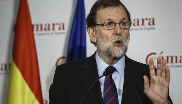 El presidente del Gobierno, Mariano Rajoy, durante su intervención en la inauguración de la jornada