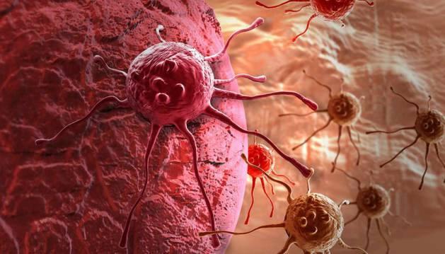 Una recreación de una célula cancerígena