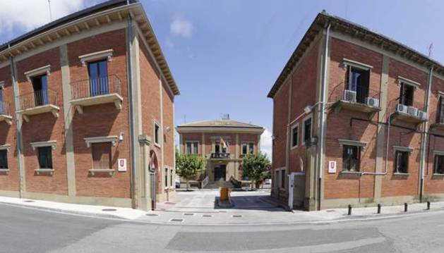 Vista de la entrada a la comisaría central de la Policía Foral en Beloso, Pamplona.