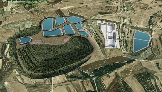 Vista aérea de una recreación por ordenador de la planta de tratamiento del proyecto de mina Muga. Se ubicaría en término de Sangüesa.