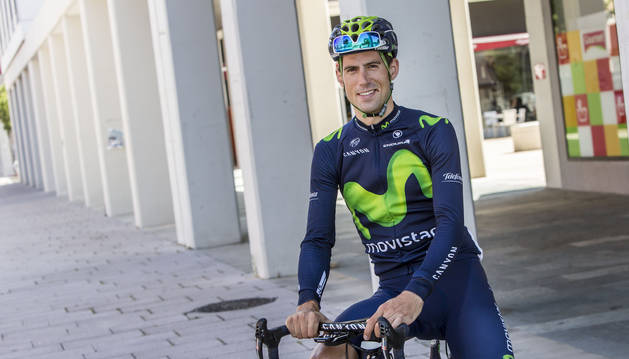 Foto del pamplonés Imanol Erviti, del Movistar, en un entrenamiento después del Tour de Francia.