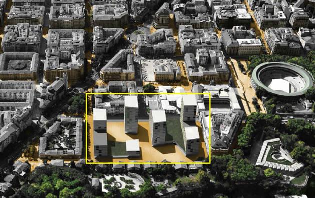 Recreación de cómo quedarán las torres de Salesianos tras la urbanización prevista. A la derecha, la plaza de toros; a la izquierda, la avenida Baja Navarra.