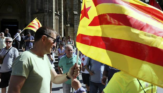 Foto del coordinador general de EH Bildu, Arnaldo Otegi, en la manifestación convocada en San Sebastián.