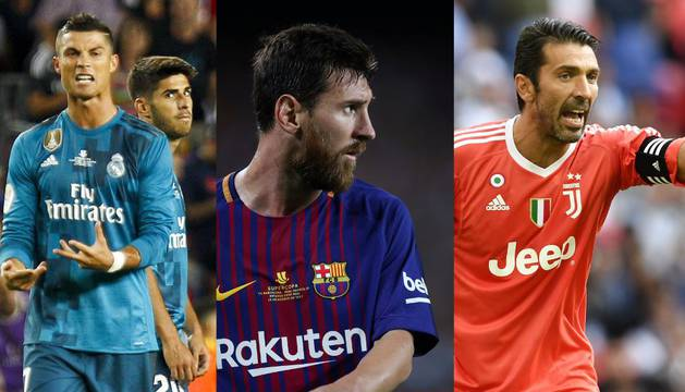 Cristiano Ronaldo, Lionel Messi y Gianluigi Buffon
