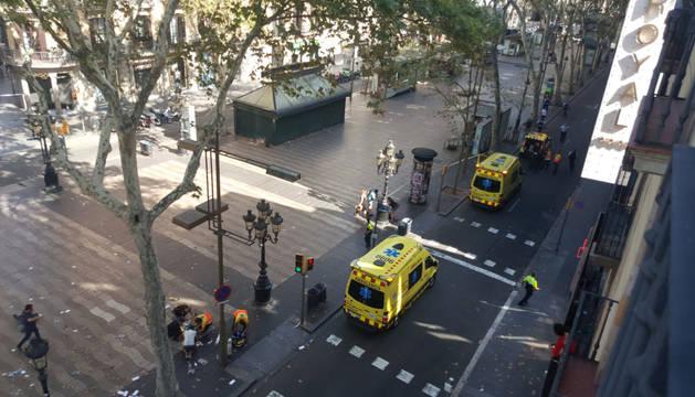 Atropello múltiple en las Ramblas de Barcelona.