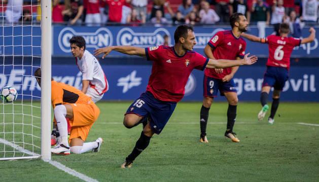 Unai García celebra el gol que posteriormente anularía Eiriz Mata por fuera de juego.