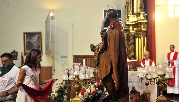 Imágenes de la procesión en honor a San Bartolomé en Marcilla.