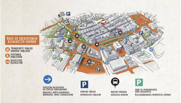 Mapa publicado en la web explicativa del Plan de Amabilización del Centro de Pamplona.