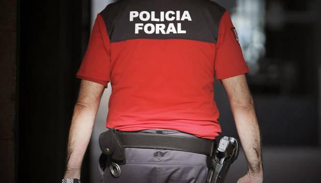 Imagen de un agente de la Policía Foral accediendo al interior del Palacio de Navarra.