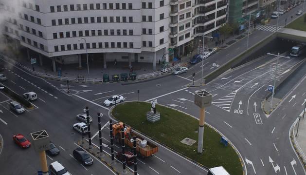 El nuevo circuito de semáforos en la plaza de la Paz de Pamplona