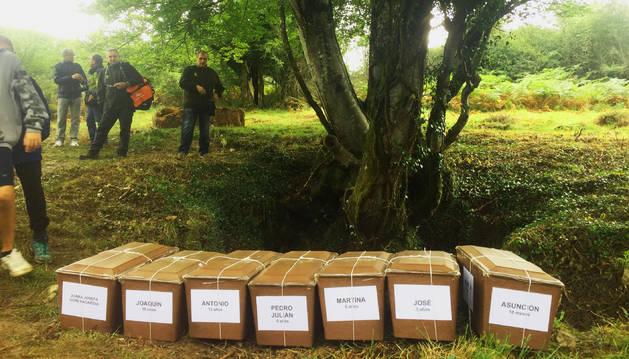 Foto de las urnas con los restos de los desaparecidos, ante la sima de Legarrea.