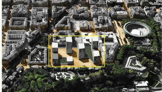 En un recuadro, como quedará el solar tras ejecutarse las 400 viviendas.