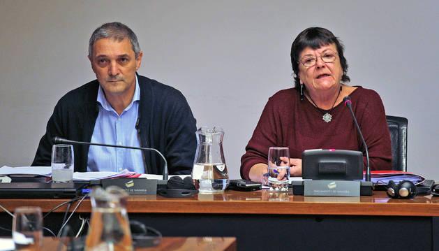 La consejera de Interior, María José Beaumont, y el jefe de la Policía Foral, Torcuato Muñoz, en una comparecencia parlamentaria.