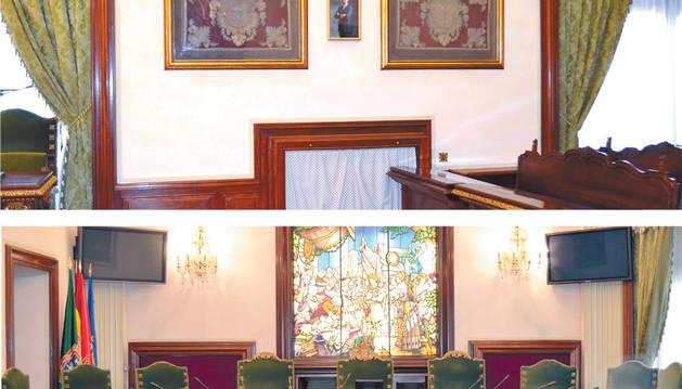 Arriba, el retrato reducido entre los dos paños. Abajo, las banderas a la izquierda de la presidencia.
