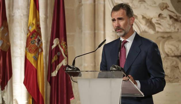 El Rey Felipe VI, durante su discurso en la ceremonia de entrega de los Premios Nacionales de Cultura.