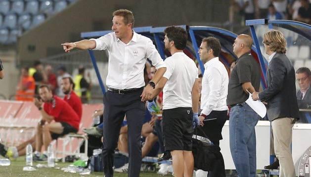 Ramis, técnico del Almería, durante el partido de la pasada jornada