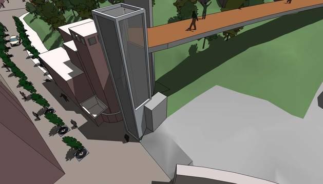 Imagen virtual del proyecto original del ascensor y pasarela previstos en la cuesta de la Torre Monreal.