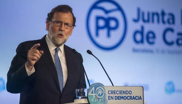 Foto del presidente del Gobierno, Mariano Rajoy, preside la Junta Directiva del PP de Cataluña.