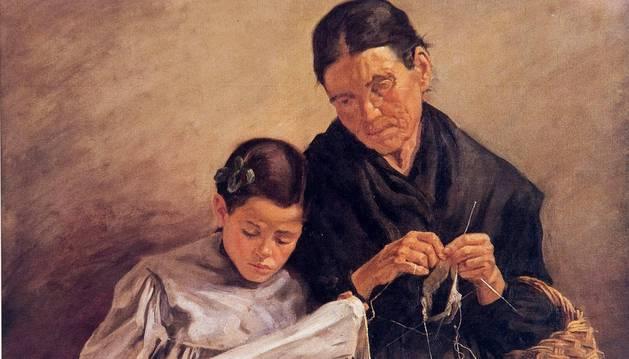 Ciga quiso con 'La calceta' denunciar el analfabetismo de ese momento en España (1910): el 60% de la población no sabía ni leer ni escribir.