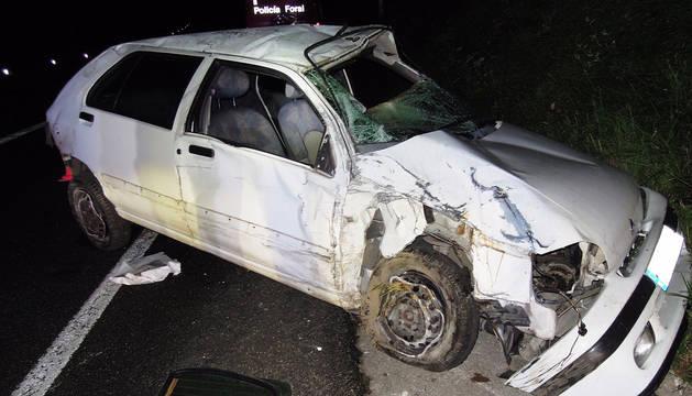 Dos heridos graves en un accidente de tráfico en Leitza