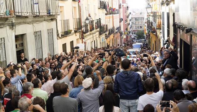 El portavoz de ERC en el Congreso, Joan Tardá (d), durante su participación en Madrid en el acto a favor del referéndum soberanista