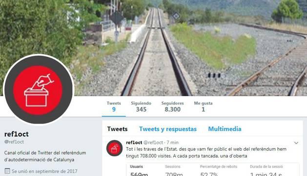 Captura del Twitter oficial del referéndum catalán