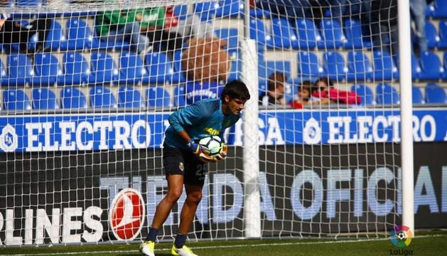 Mariano Barbosa, portero del Villarreal, este domingo antes del partido contra el Alavés.