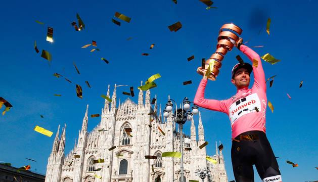 Tom Dumoulin, ganador del Giro 2018, en Milan.
