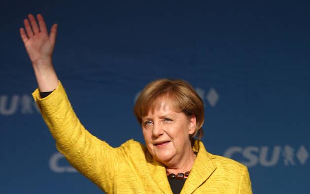 Angela Merkel, en plena campaña electoral.