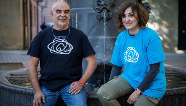 Javier Redín y Ana Larumbre, el miércoles en la plaza San José de Pamplona.