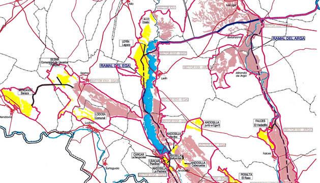 El mapa del PSIS que ilustra las nuevas zonas regables