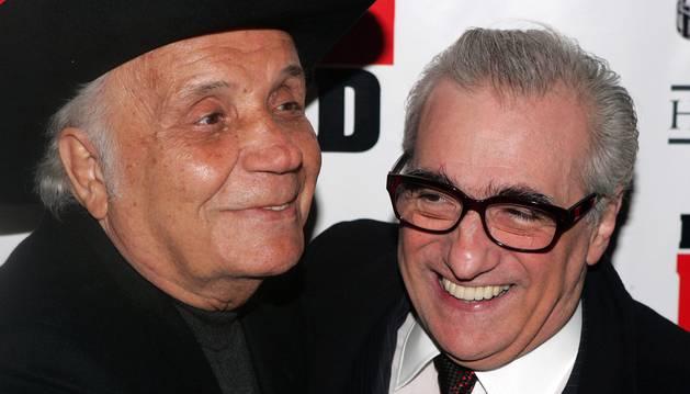 LaMotta junto al cineasta Martin Scorsese, autor de la película 'Toro Salvaje'