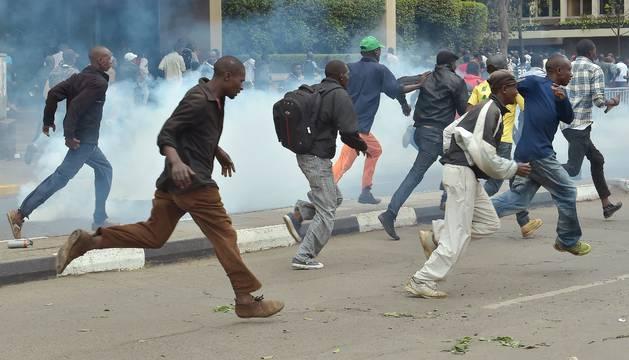Durante la protesta en Nairobi