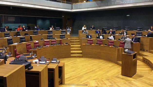 El pleno del Parlamento navarro vacío