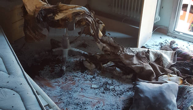 Imagen del incendio ocurrido en Ermitagaña