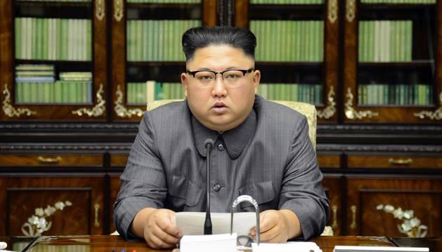 Kim Jong Un en una declaración