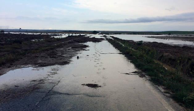 Imagen de la carretera cortada a la altura de la laguna de Pitillas.