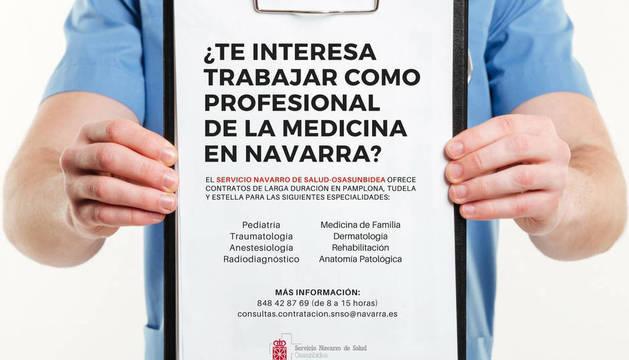 Imagen de la campaña que lanzó Salud en busca de profesionales médicos.