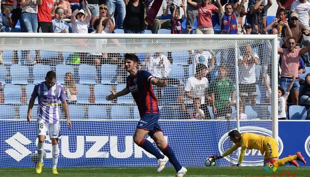 Melero celebra su gol de esta mañana contra el Valladolid
