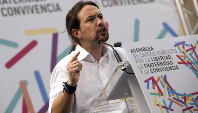 Pablo Iglesias, durante su intervención en Zaragoza.
