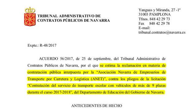 Resolución del TAN del martes que anula la licitación del  servicio.