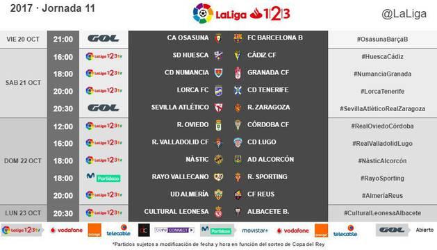 Cuadro con los horarios de la undécima jornada de la Liga 1/2/3.