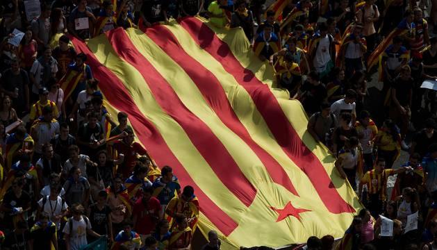 Foto de la manifestación de estudiantes en Barcelona.