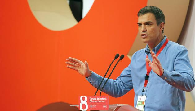 El secretario general del PSOE, Pedro Sánchez, durante su intervención en el VIII Congreso que el PSE-EE celebra este fin de semana en Bilbao.