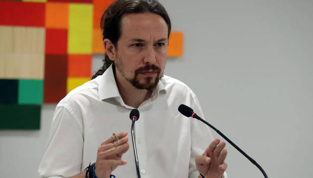 Imagen de Pablo Iglesias, este domingo ante los medios por el 1-0 en Cataluña.