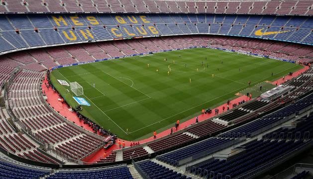Imagen del Camp Nou durante el partido Barça-Las Palmas que se celebró a puerta cerrada
