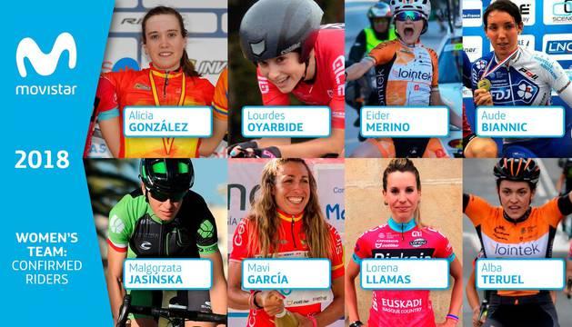 Los ochos primeros fichajes, anunciados por el Movistar Team en las redes sociales.